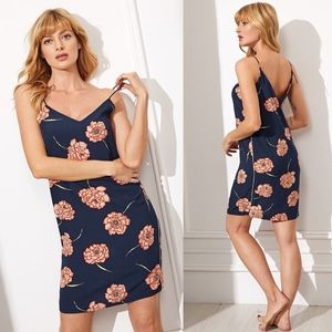Other - Navy Floral Print Spaghetti Strap Night Gown